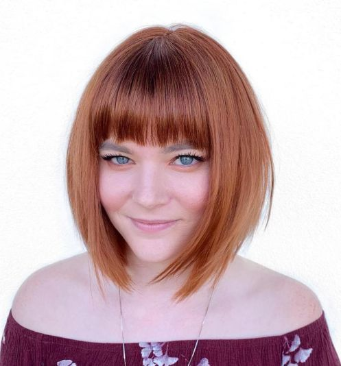 A Line Bob With Straight Bangs For Round Faces Bob Haircut For Round Face Round Face Haircuts Bangs For Round Face