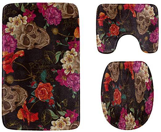 Purple Rose Skull Shower Curtain Bath Mat Toilet Cover Rug Bathroom Decor Set