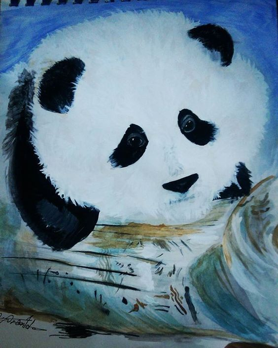 #panda #watercolor #illustration #illustrations #paint #bear #wild #wildlife #baby #babypanda #art #colors #color #artist #artistic