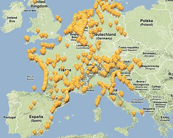 Map of the Best European campsites - Top Camping Europe