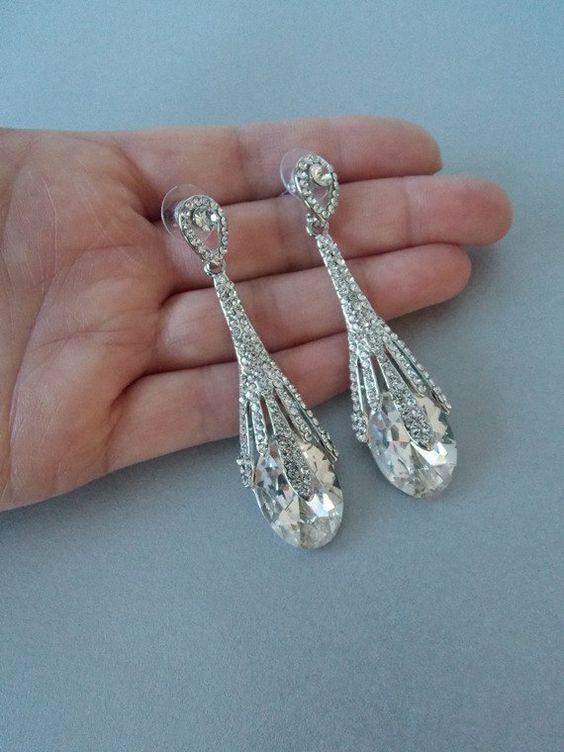 Argento a goccia di cristallo nozze Prom Gatsby istruzione orecchini