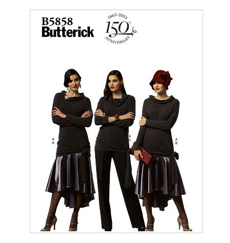 B5858, Misses'  Top, Skirt and Pants