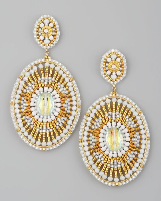 miguel ases | Miguel Ases Design Beaded White Quartz Earrings: