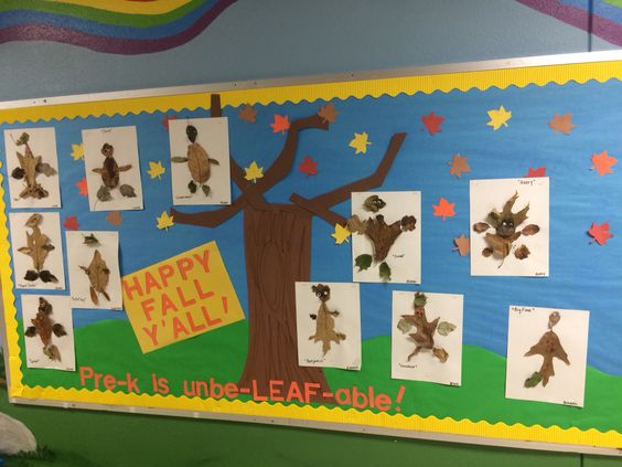 Fall PreK board. We went on a 'leaf hunt'. Then measured, counted, compared, etc before making Leaf People