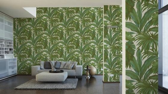 96240 5 Palm Leaf White Green Textured Wallpaper Wallpaper Accent Wall Bathroom Wallpaper Accent Wall Green Wallpaper