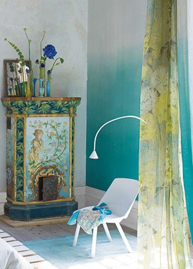 Wallpapers designers guild and ombre on pinterest Ombre aqua wallpaper