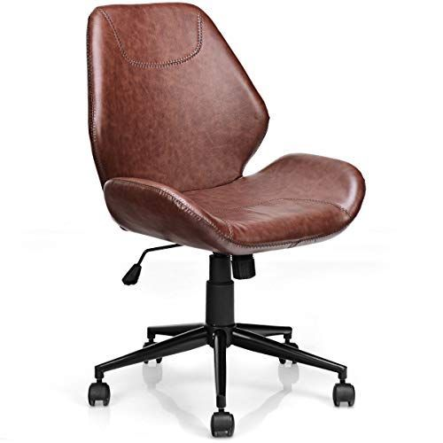 Giantex Home Office Leisure Chair Ergonomic Mid Back Pu Leather