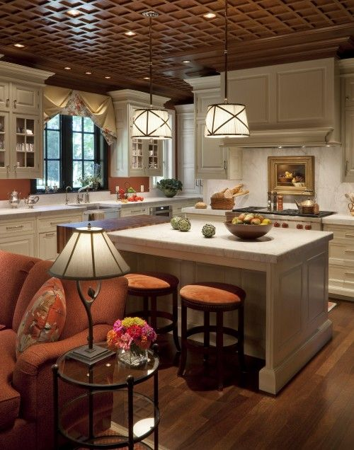 Love the ceiling, and the warm colors help keep the white from looking cold & sterile.: Dream House, Traditional Kitchen, Kitchen Inspiration, Kitchen Design, Family Room