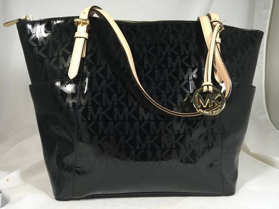 NWT MICHAEL KORS BLACK PATENT LEATHER  EW MK SIGNATURE TOTE SHOULDER BAG PURSE https://t.co/9xXvIzGRDo https://t.co/glHYv7dXAc