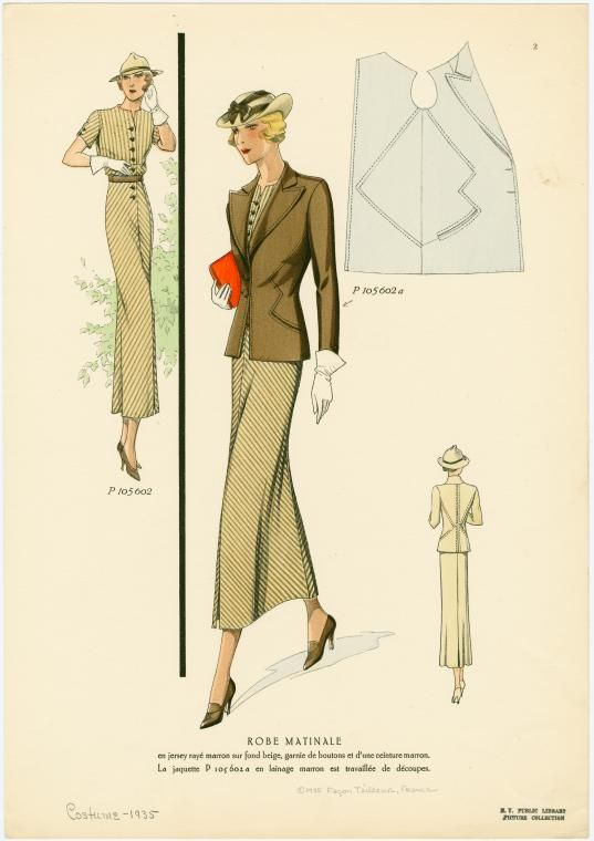 Robe matinale. (1935)  Love the suit seaming and the curved inseam pockets! #1930s