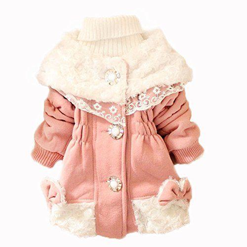 Girls Kid Baby Toddler Fur Collars Fleece Hoodie Coat Jacket Snowsuit Outwear (L(Advice1-2Years), pink)