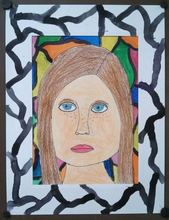Self Portrait with instruction and from observation - 2nd Grade. Art teacher Jennifer Lipsey Edwards