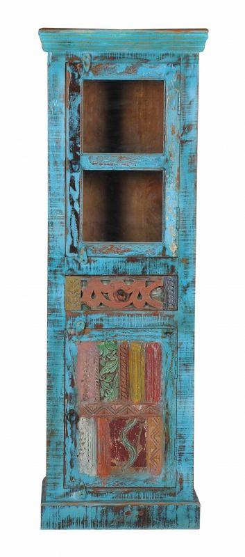 Vintage Möbel Blaue Vitrine 60x178x40cm Massiv | Wohnzimmer ...
