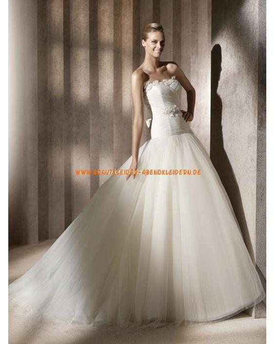 Unique Brautkleider aus Organza A-Linie mit langer Schleppe online 2013