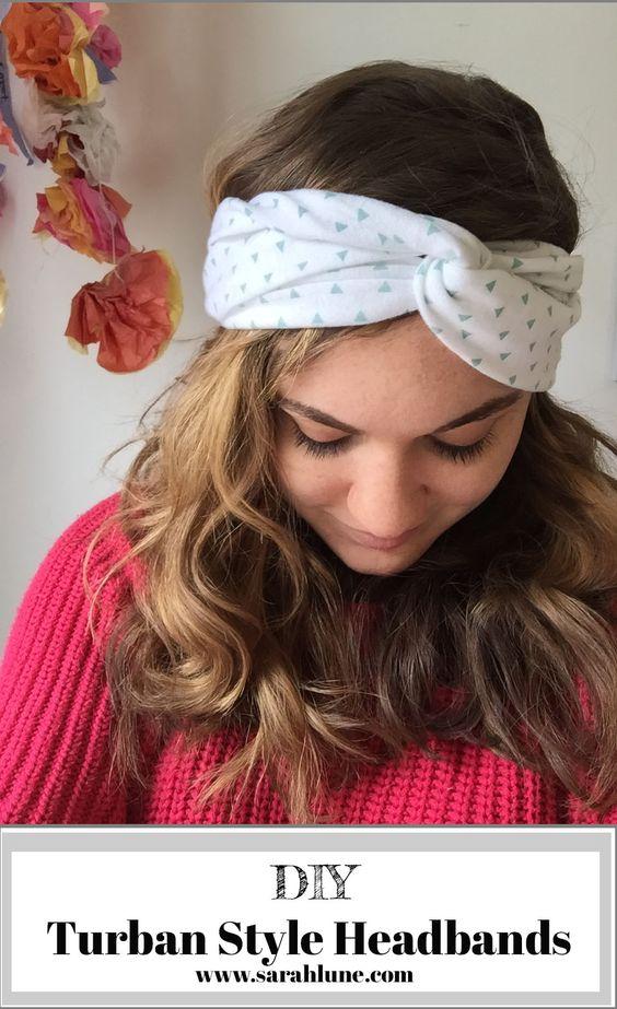 DIY fashion easy sewing tutorial for turban style headbands.