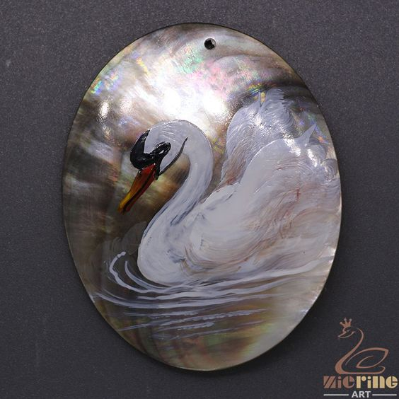 Hand Painted Swan Pendant Natural Black Lip Shell Multi Color ZL303122
