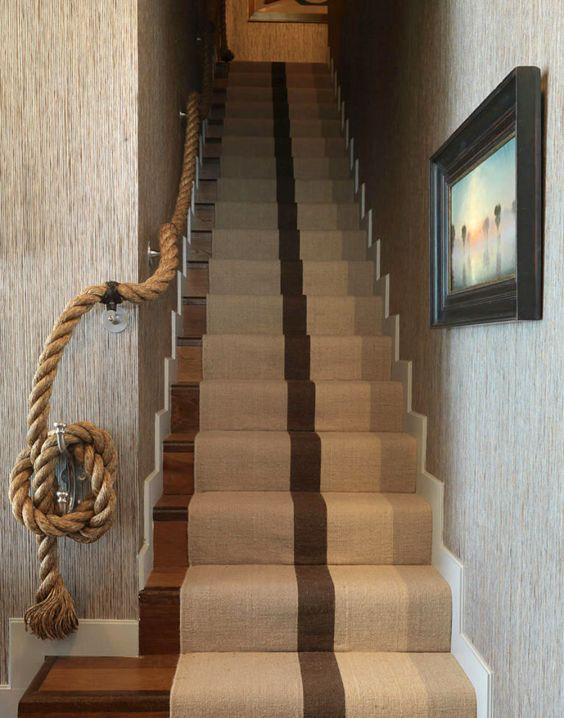 Staircase Design - Handrail Ideas - Nautical Rope - Home Decor - Beach House: