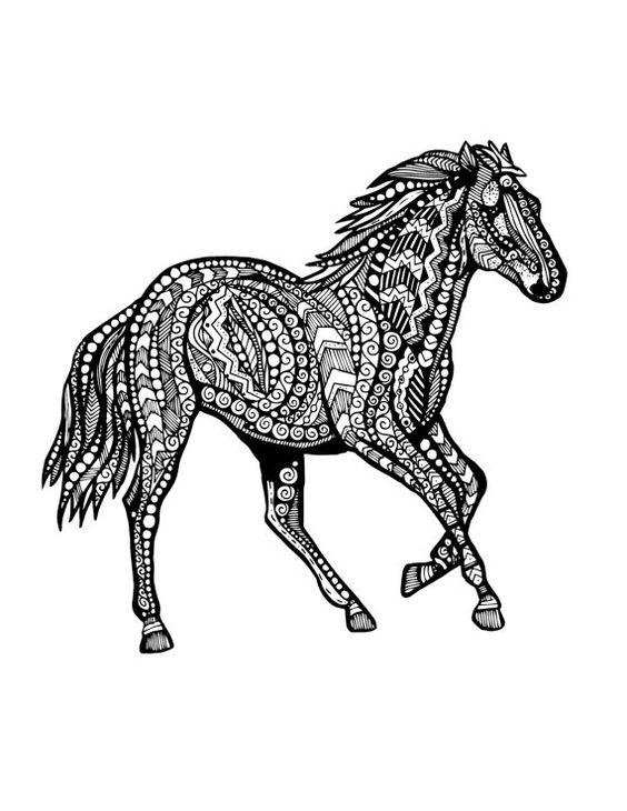 Horse Zentangle Animal Fact Cards Pinterest Frben Pferde Und