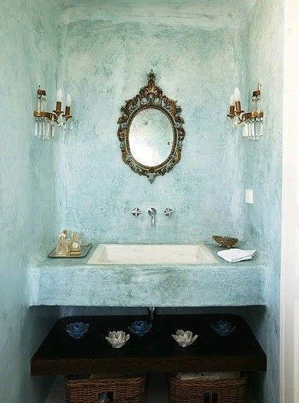 concrete sink: Bathroom Design, Interior Design, Bathroom Sink, Dream House, Dream Home, De Bain, Bathroom Ideas, Blue Bathroom, Powder Rooms
