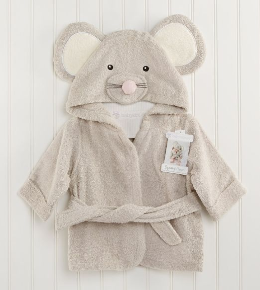 Squeaky clean mouse hooded terry robe for the little one.
