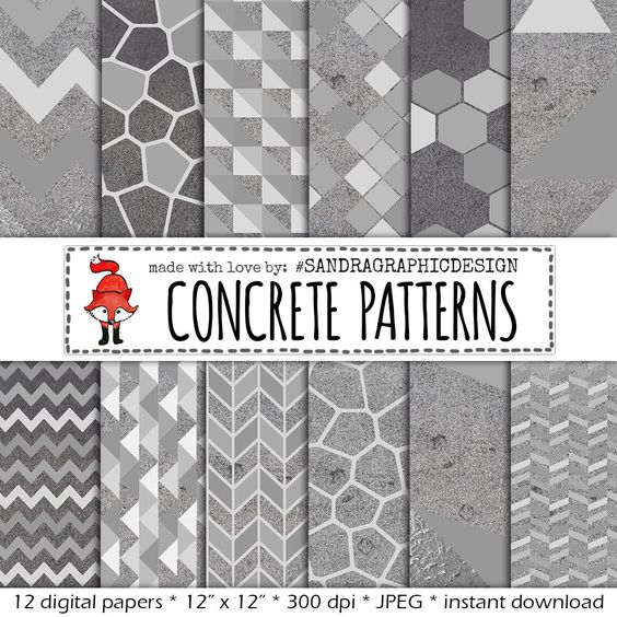 "Digital paper: ""CONCRETE PATTERNS"" with modern geometric patterns on concrete texture, in shades of grey (1164) by SandraGraphicDesign on Etsy https://www.etsy.com/listing/227459282/digital-paper-concrete-patterns-with"