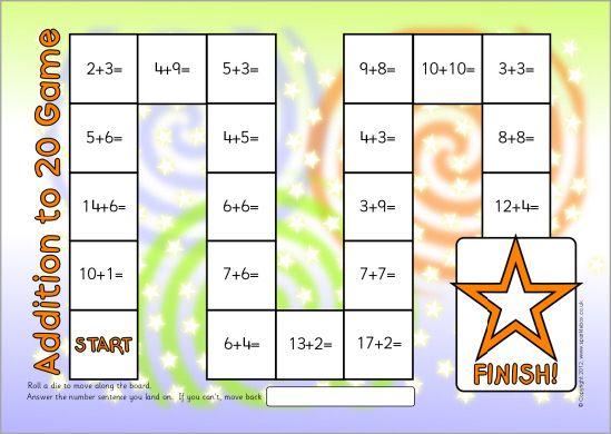 Addition to 20 board game (SB7213) - SparkleBox | Math | Pinterest ...