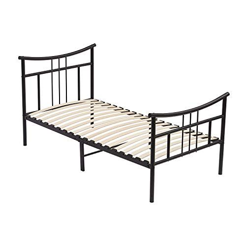Dorafair Vintage Metal Bed Frame Twin Size Mattress Foundation Platform With Headboard And Footboard Wooden Slat Support Box Spring Repla