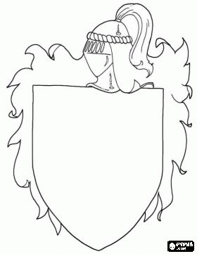 Coat of arms of a medieval knight to decorate coloring page