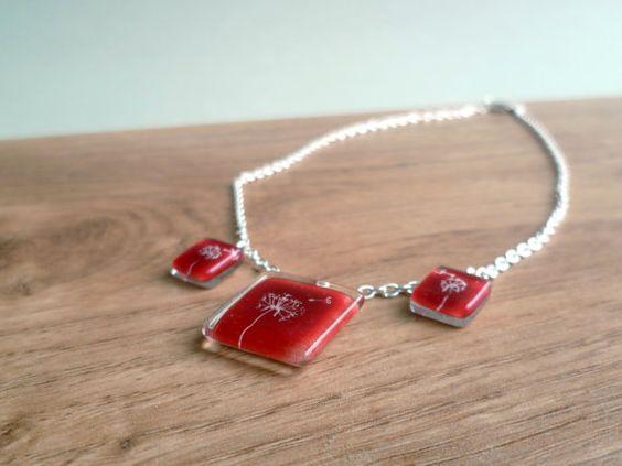 Glass charm necklace  Dandelion glass necklace  Fused by BGLASSbcn