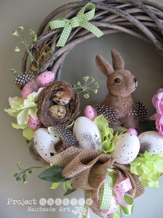 ProjectGallias: Spring wreath, easter decoration with bunny 100% handmade, Wianek wielkanocny z zajÄ…czkiem, dekoracja #projectgallias