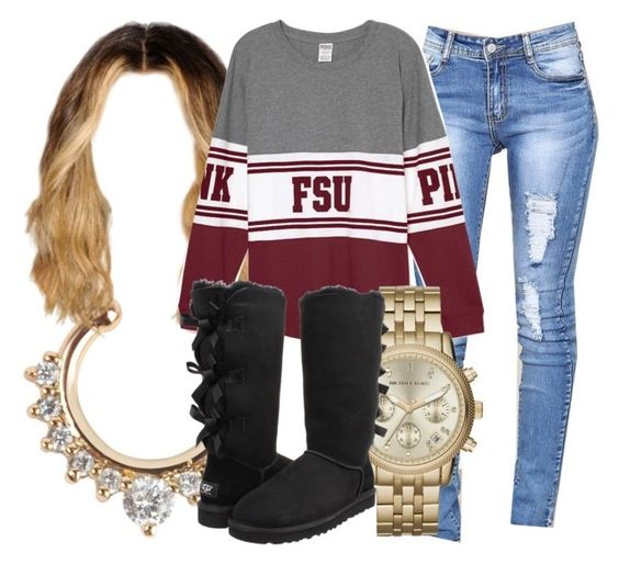 """""""👌🏾👌🏾"""" by foreverkaylah ❤ liked on Polyvore featuring Michael Kors and UGG Australia"""