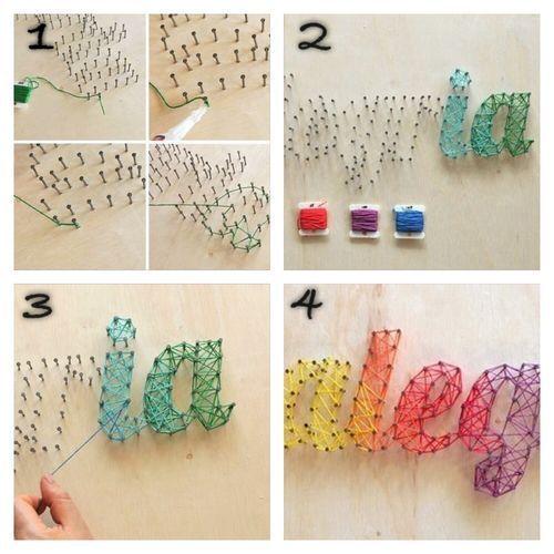 Buchstaben mit Nageln formen und mit bunter Wolle verbinden