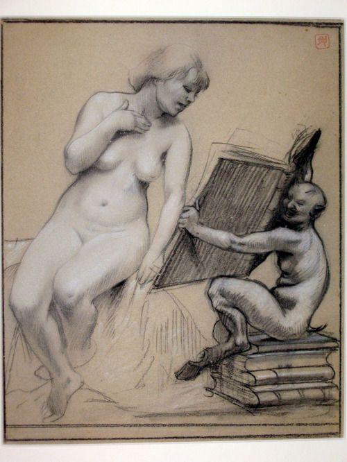 Armand Rassenfosse, Nude reading, 1899.: