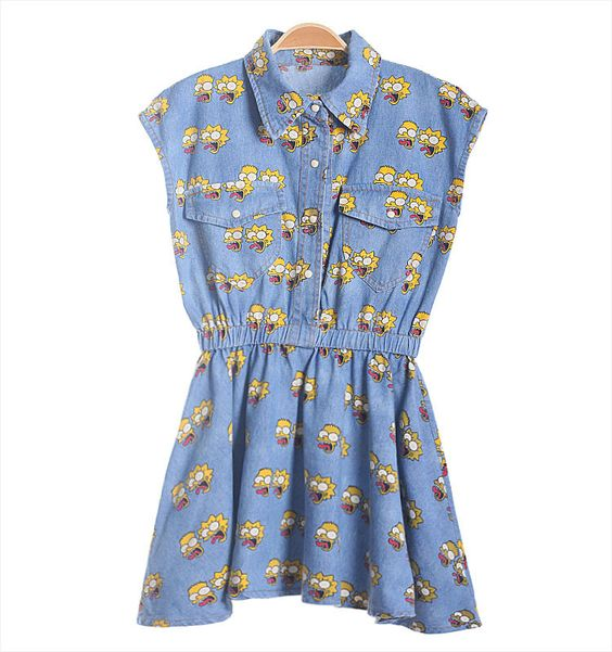 2014 Simpson women's cartoon slim waist sleeveless turn-down collar denim one-piece dress 702,94 руб.