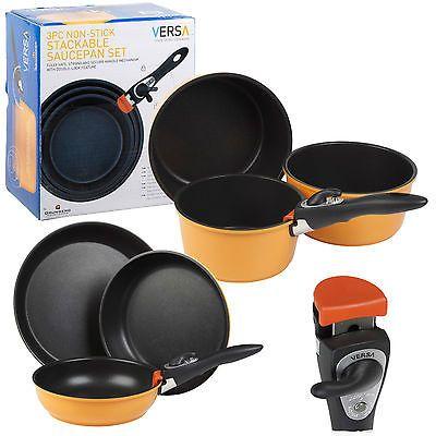 Grunwerg Versa 3pc Non Stick Saucepan Or Frying Pans Stacking Pots Set Electric
