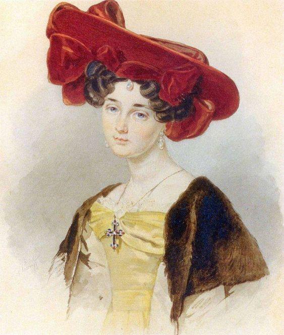 П.Ф.Соколов. Портрет неизвестной в темно-красной шляпе. 1828.: