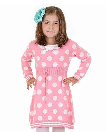 Another great find on #zulily! Pink Polka Dot Sweater Dress - Toddler & Girls #zulilyfinds