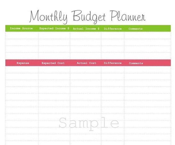 Monthly Budget Planner Pdf Printable By Paperinkcustomdesign