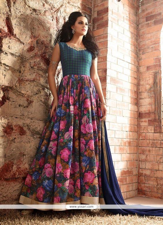 Heavenly Patch Border Work Multi Colour Designer Floor Length Suit Model…