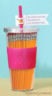 first day of school teacher gift! never have too many pencils and a tumbler! #DIY