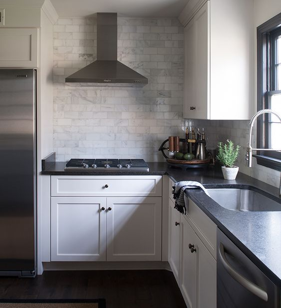 Kitchen Backsplash With Black Granite Countertops And White Cabinets: The Flip Side Of Tradition: Sean Anderson Transforms A