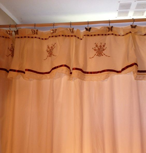 Cortinas De Baño Bordadas:Cortina de baño bordada