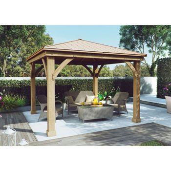 Pavillon de jardin de 12 pi x 12 pi en bois avec toit en for Pavillon jardin bois