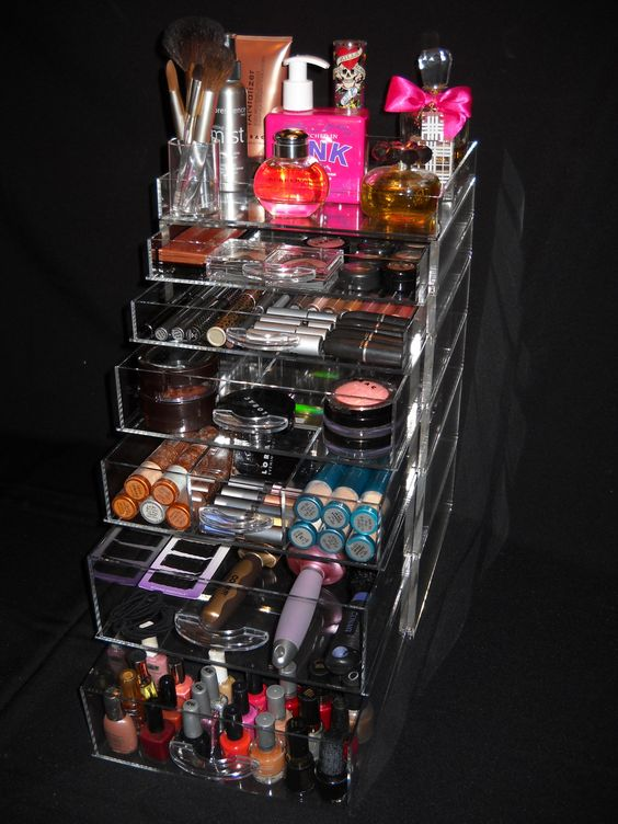 Makeup Organizer this girl has all of he beauty things in this organizer. I'm positive I could only use this for my makeup. Hair and nail polish in another bin for me but I still need somethin like this so I'm not searching through containers of makeup. !!