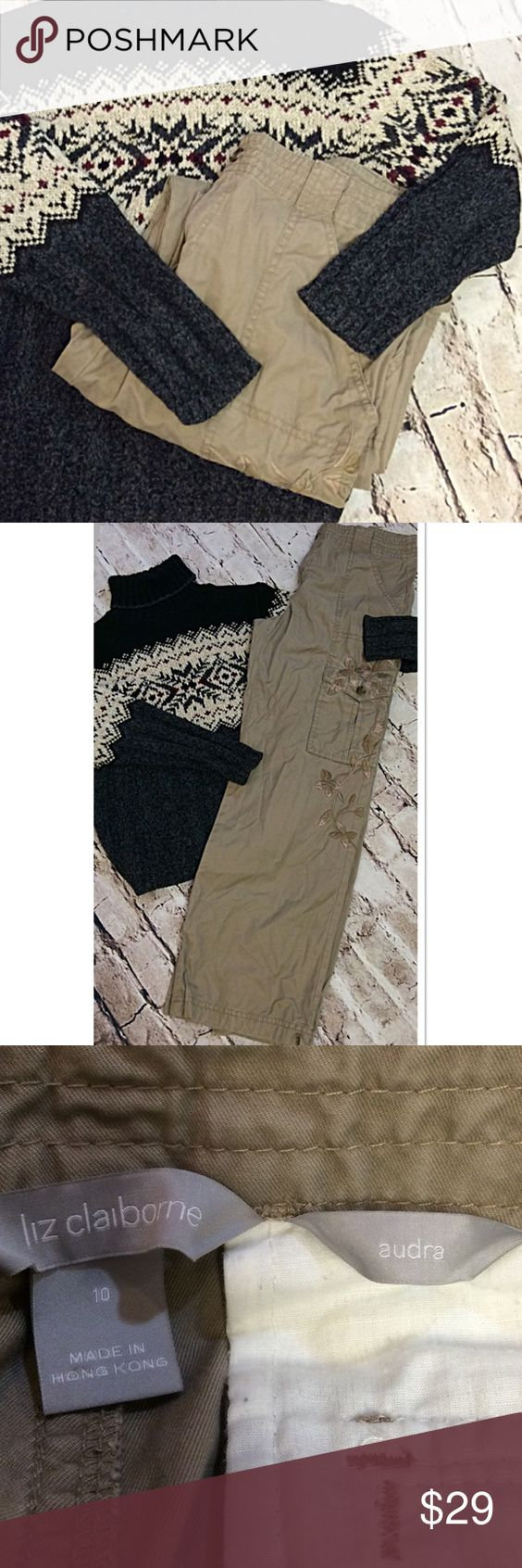 """LIZ CLAIBORNE EMBROIDERY EMBELLISHED CARGO PANTS These are so chic to be cargos. They have a. Beautiful design down the leg which drawstring at the bottom. Lying flat Waist 16"""" inseam 31.5"""" Liz Claiborne Pants"""