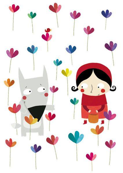 J'aime beaucoup cette image pleine de tendresse et de charme, avec ce petit loup offrant des fleurs au petit chaperon rouge.