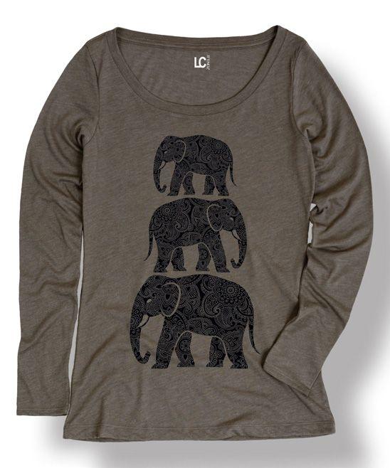 Stone Henna Elephants Long Sleeve Tee