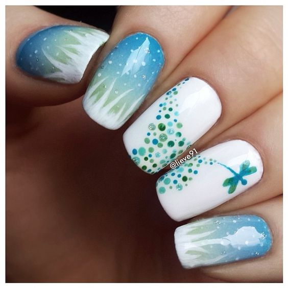 lovely dragonfly nail design (love the night sky scene as well) by lieve91