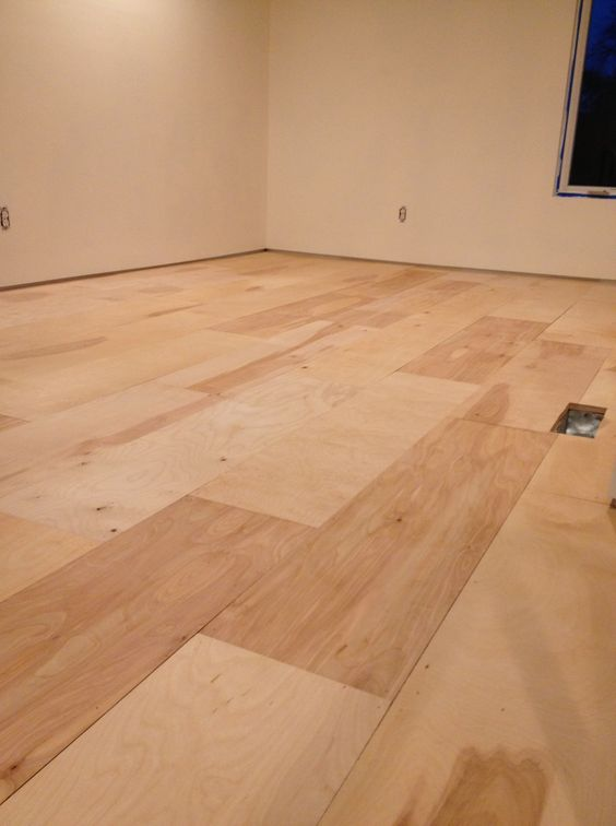 Plywood Flooring Installation | urban home INDY Not sure how I feel about this, but if it's CHEAP...