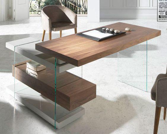 Mesa de escritorio moderna munio material madera de nogal - Mesas cristal templado ...